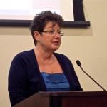 Paula Bowman-President League of Women Voters at board meeting.