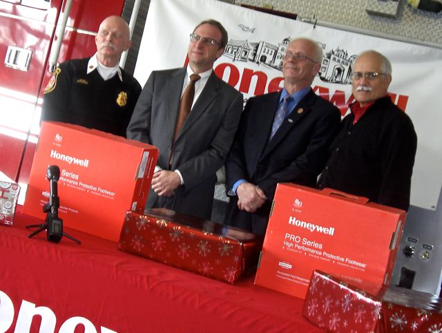 Honeywell presents boots to township fire department