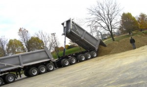 Truckloads of sand arrived this week for the park pavilion