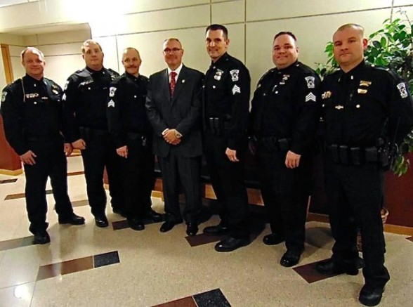 newly promoted lieutenants and sergeants in the canton police department received their new badges and took their oaths of office earlier this month