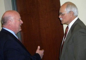 PARC group organizer Don Soenen and Plymouth Township Supervisor Richard Reaume-negotiate in Dec. 2013