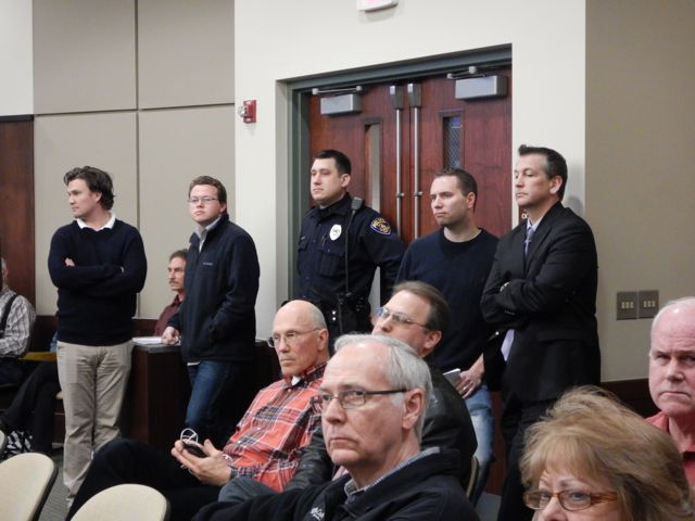 Police officer at April   Board Meeting