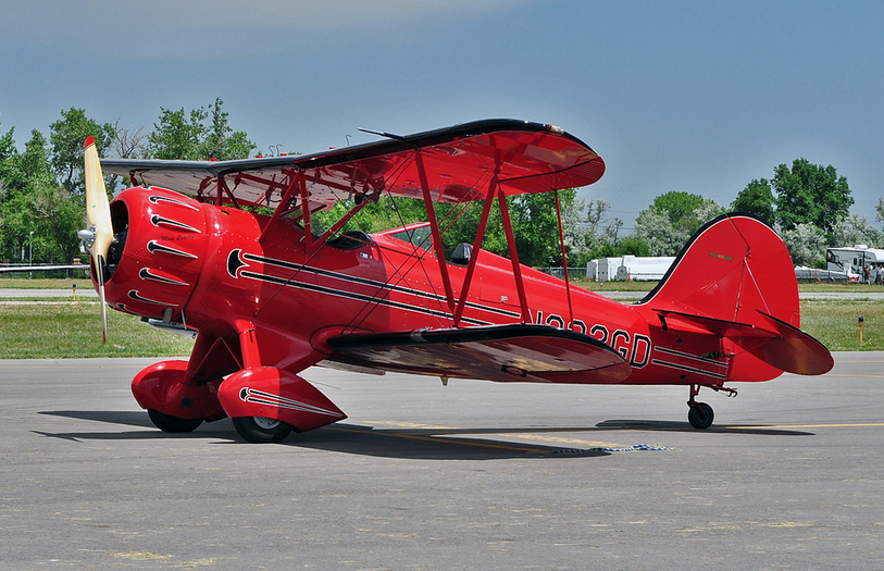 Open cockpit WACO YMF C biplane