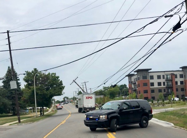 Pole crash Plymouth Rd