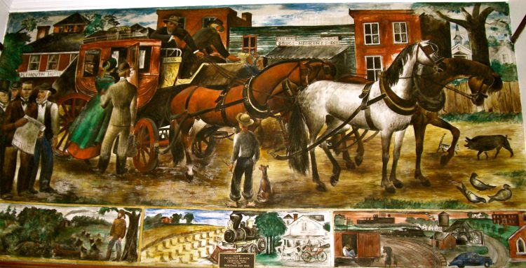 Plymouth Post Office Mural  e